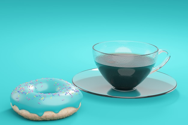 Koffie in een glazen beker en een donut met turkoois glazuur