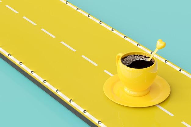Koffie in gele kop