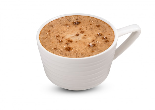 Koffie in witte kop op witte achtergrond