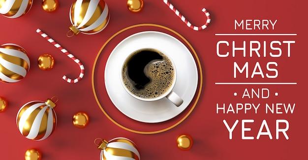Koffie liefde concept. kerstmis en gelukkig nieuwjaar decoraties met een warme koffie, gouden zilveren bal en gouden ster op rode achtergrond. 3d illustratie