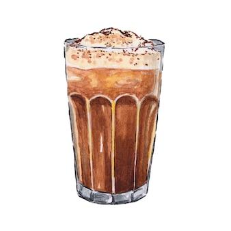 Koffie met schuim in een glazen beker aquarel geschilderd op wit