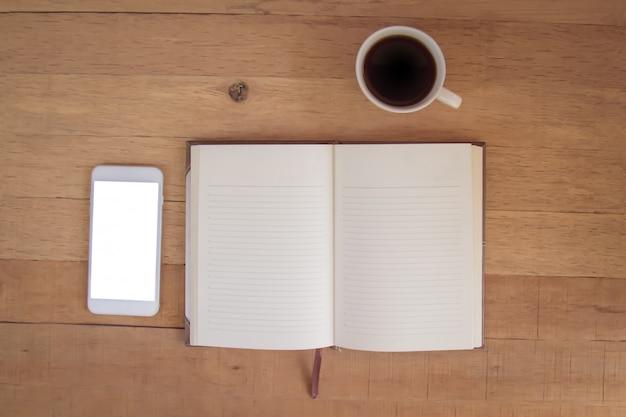 Koffie notitieboek telefoon