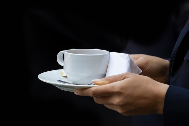 Koffie op kantoor. bedrijfsconcept. neem een pauze.