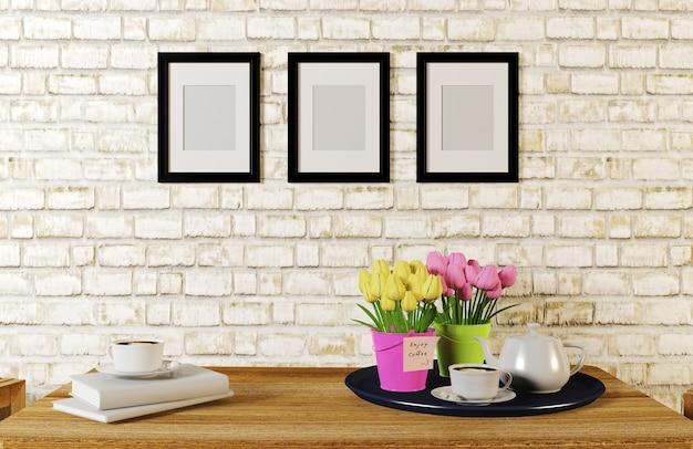 Koffie op lijst in witte die baksteenruimte wordt gediend met fotoframes, het 3d teruggeven wordt verfraaid