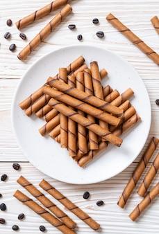 Koffie wafel stick roll met room