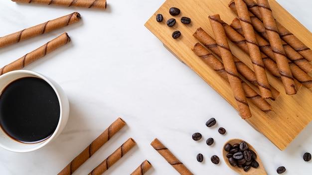 Koffie wafer stok bovenaanzicht