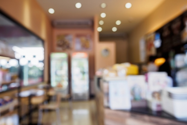 Koffie winkel achtergrond wazig
