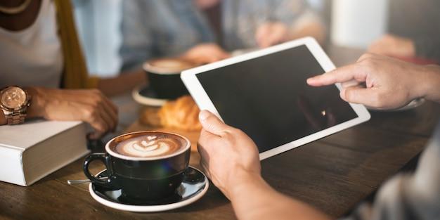 Koffie winkel cafe latte cappuccino technologieconcept