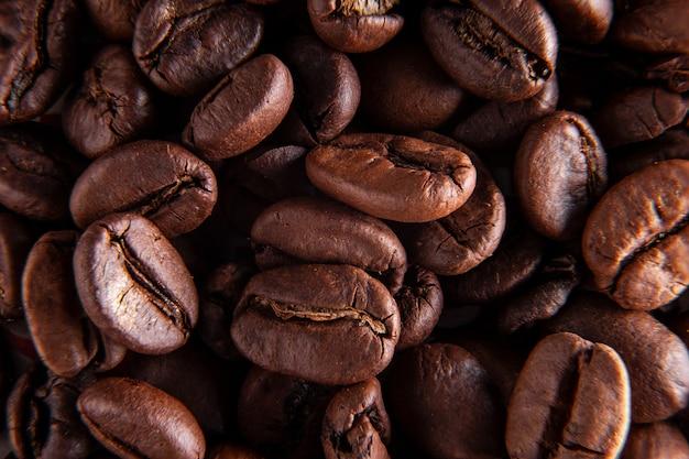 Koffiebonen achtergrond. afbeelding macro goed achtergrondgeluid idee