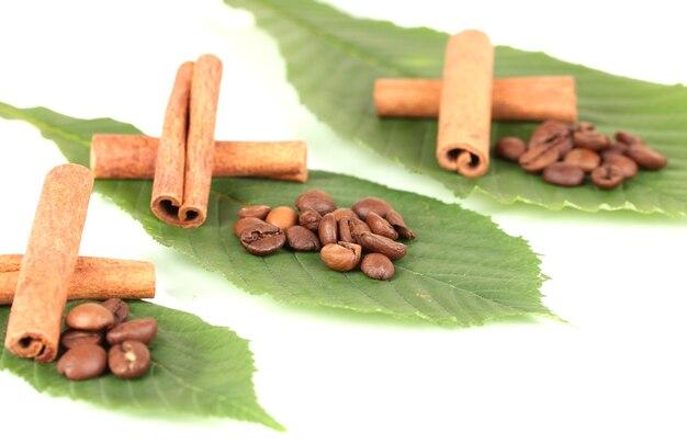 Koffiebonen en kaneel op zak op groene bladeren close-up