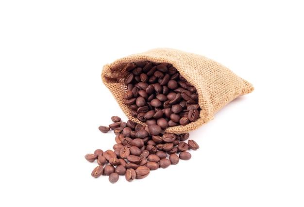 Koffiebonen in geïsoleerde zak