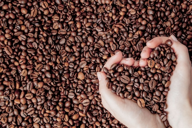 Koffiebonen in mensenpalmen in vorm van een hart op koffieachtergrond