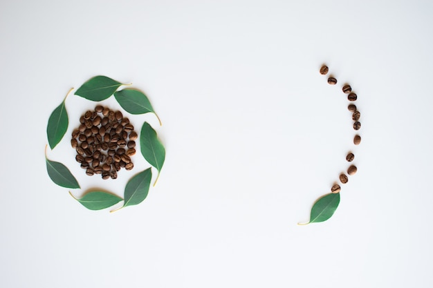 Koffiebonen met eucalyptusbladeren als een cirkel op een wit oppervlak.