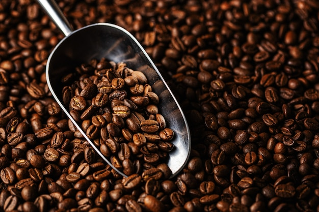 Koffiebonen op schep