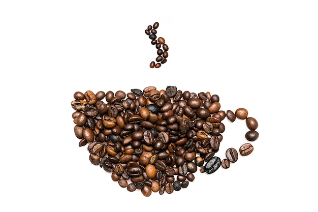 Koffiebonen samenstelling, met de vorm van een koffiekopje