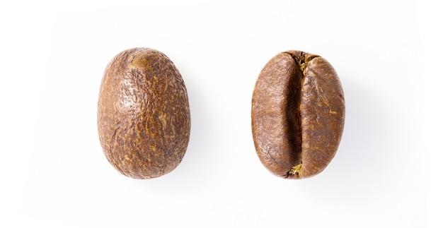 Koffiebonen, twee stukken close-up, uitzicht vanaf verschillende kanten