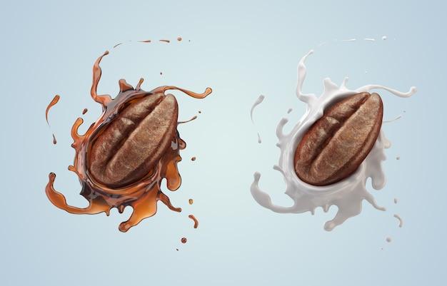 Koffieboon met koffie en melk splash