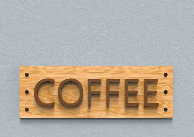 Koffiebriefwoord op bruine houten raad op cementachtergrond.