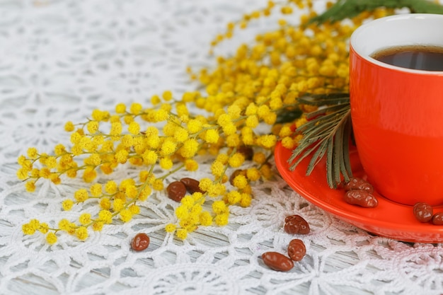 Koffiekop en schotel zijn versierd met een mimosa en snoepjes op een mooi gehaakt tafelkleed