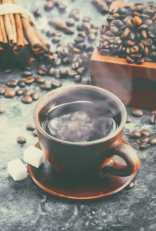 Koffiekop. eten en drinken. foto.