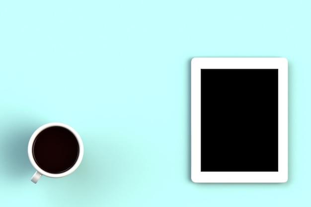 Koffiekop met tablet op blauwe achtergrond