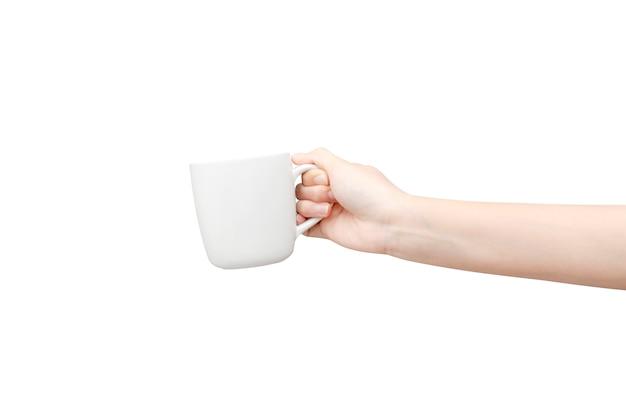 Koffiekop op witte achtergrond ter beschikking wordt geïsoleerd die.
