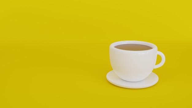 Koffiekopje geïsoleerd op geel. 3d rendering illustratie.