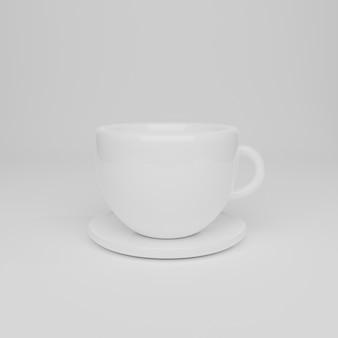 Koffiekopje geïsoleerd op wit. 3d rendering illustratie.