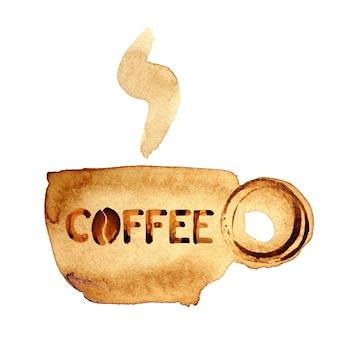 Koffiekopje met stoom geschilderd in echte koffie geïsoleerd over de witte achtergrond