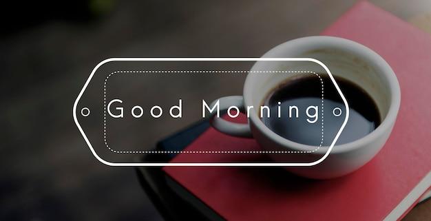 Koffiemanie begint de nieuwe dag met koffie in de ochtend