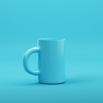 Koffiemok op heldere blauwe achtergrond in pastelkleuren. minimalisme concept. 3d render