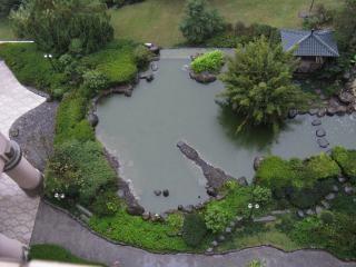 Koi vijver hieronder op een regenachtige dag