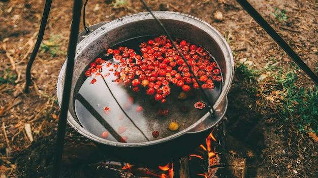 Koken fruit compote op het vuur