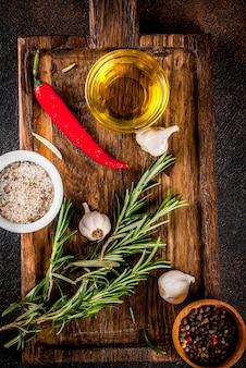 Kokende kruiden en specerijen achtergrond