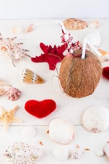 Kokos cocktail. valentijnsdag.