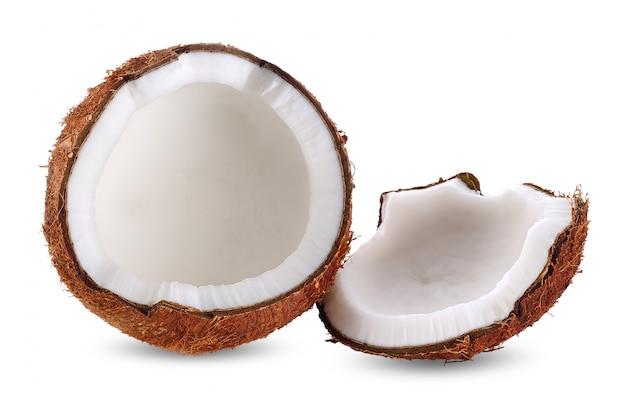 Kokosmelk op witte het knippen weg wordt geïsoleerd die