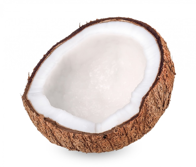 Kokosnoot die op wit met het knippen van weg wordt geïsoleerd