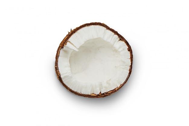 Kokosnoot, geïsoleerde kokosnotenplak, gebroken kokosnoot