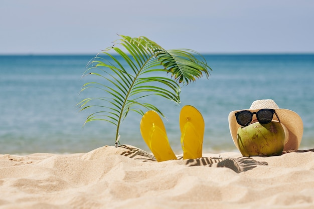 Kokosnoot in strohoed en zonnebril op strand