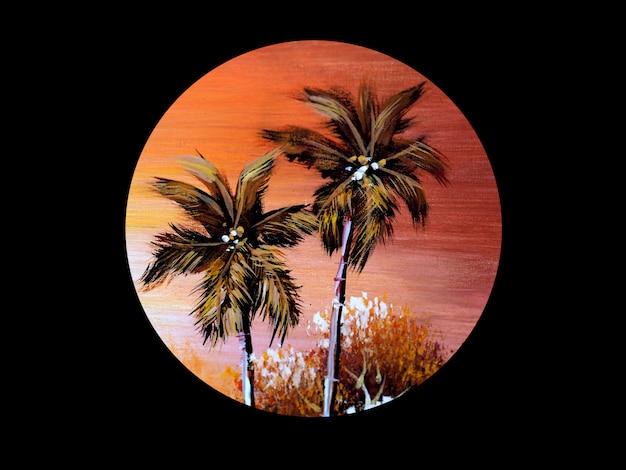Kokosnoot met de achtergrond van het zonsondergangolieverfschilderij.