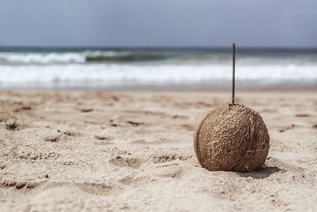 Kokosnoot met stro op het strand.