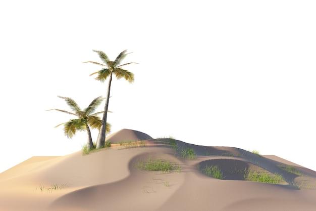 Kokospalm in klein eiland, lage veelhoek 3d-afbeelding van eiland op witte achtergrond met knipsels pad voor hemel vervangen, 3d-illustraties rendering