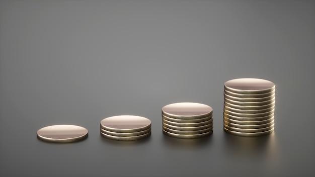 Kolommen van gouden munten