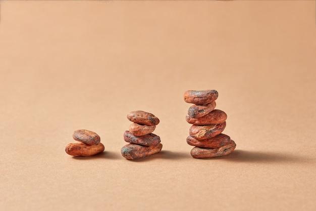 Kolommen van natuurlijke cacaobonen