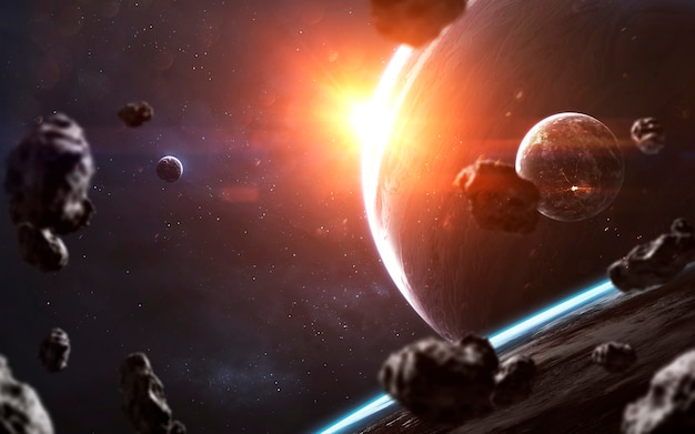 Kolossale gasreus. sciencefictionbehang, planeten, sterren, melkwegstelsels en nevels in een geweldig kosmisch beeld. elementen van deze afbeelding geleverd door nasa