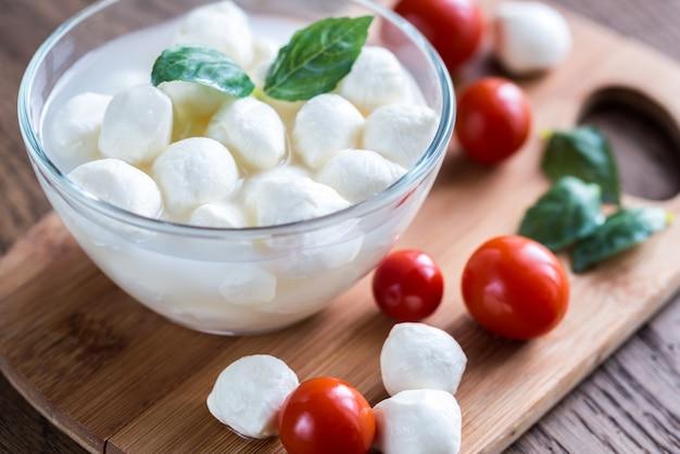 Kom bocconcini mozzarella met verse kerstomaatjes