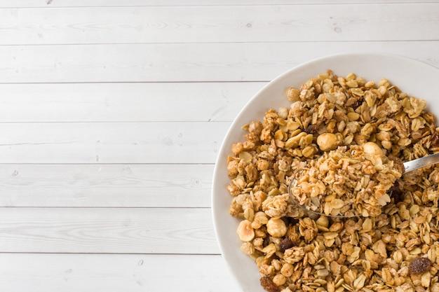 Kom droog ontbijt met havervlokken