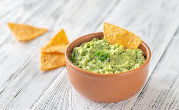 Kom guacamole met tortillachips