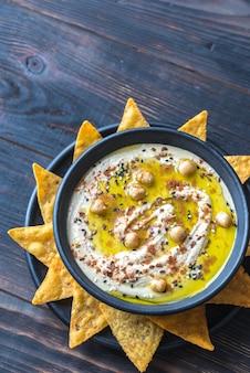 Kom hummus met tortillachips