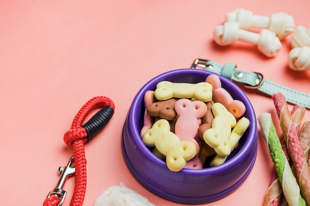 Kom met honden droge snacks
